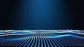 Blue Landscape background. Cyberspace landscape grid. 3d technology vector illustration. Abstract vector landscape on blac
