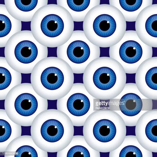 ilustrações, clipart, desenhos animados e ícones de teste padrão sem emenda dos grandes globos azuis - retina globo ocular