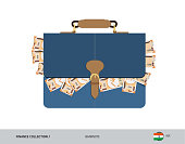 Blue leather briefcase with 200 Indian Rupee Banknotes. Flat style vector illustration. Salary payout or corruption concept.