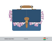 Blue leather briefcase with 2000 Indian Rupee Banknotes. Flat style vector illustration. Salary payout or corruption concept.