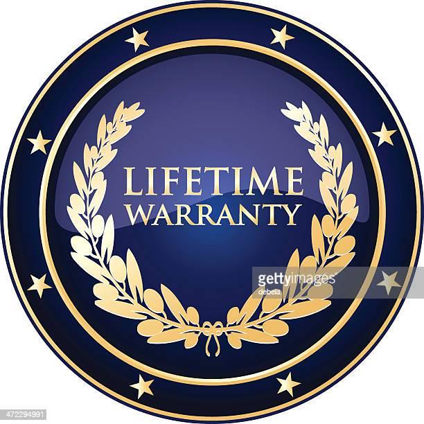 blue lifetime warranty shield - life events stock illustrations