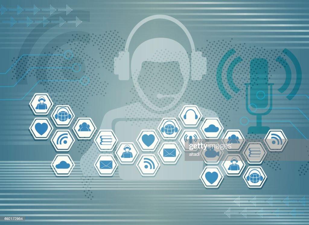 Blue Light Background C Symbols Of Internet Social Networks Vector