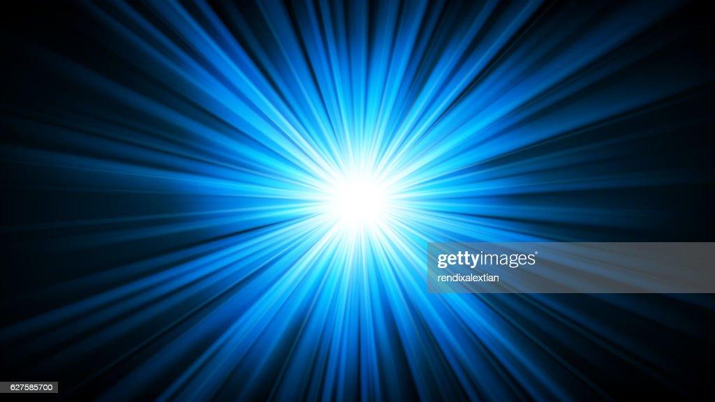 Blue light shining from darkness 16:9 Aspect Ratio
