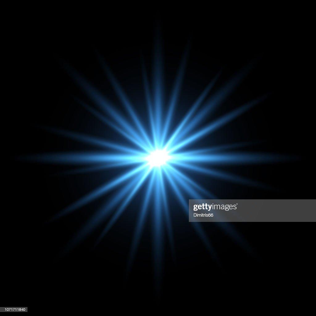 Blue light star on black background : Stock Illustration