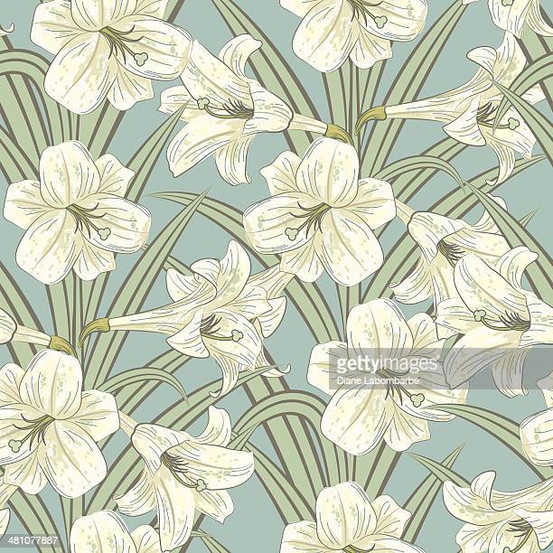 blue lilly seamless pattern - lily stock illustrations, clip art, cartoons, & icons