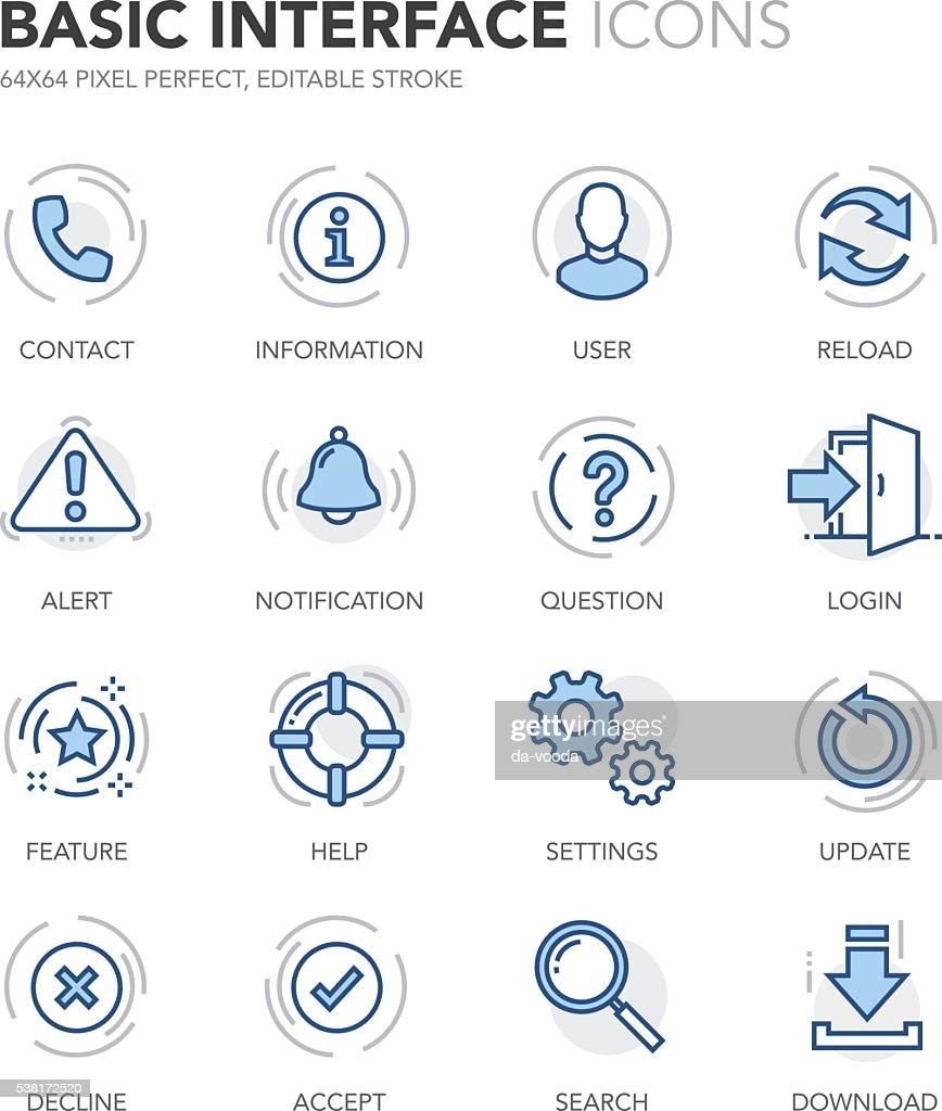 Blue Line Basic Interface Icons
