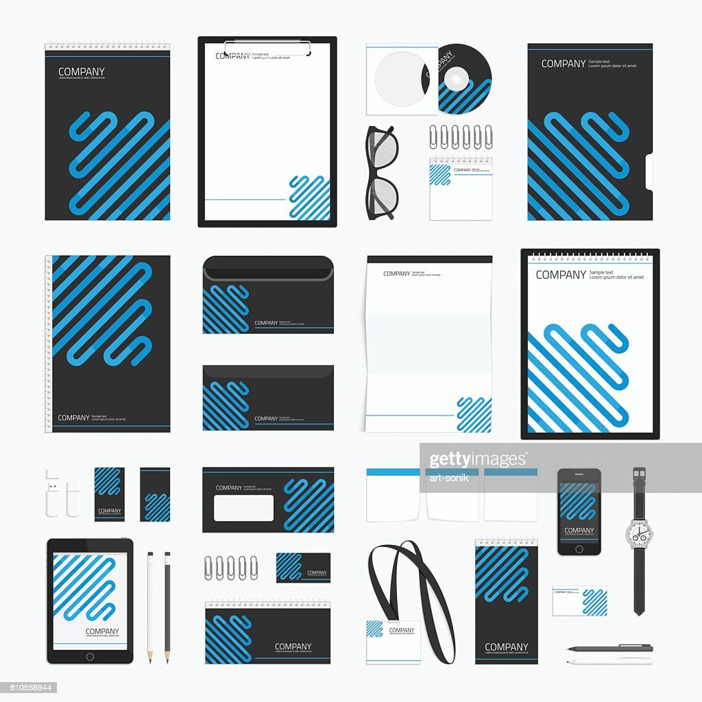 Blue line corporate identity template.
