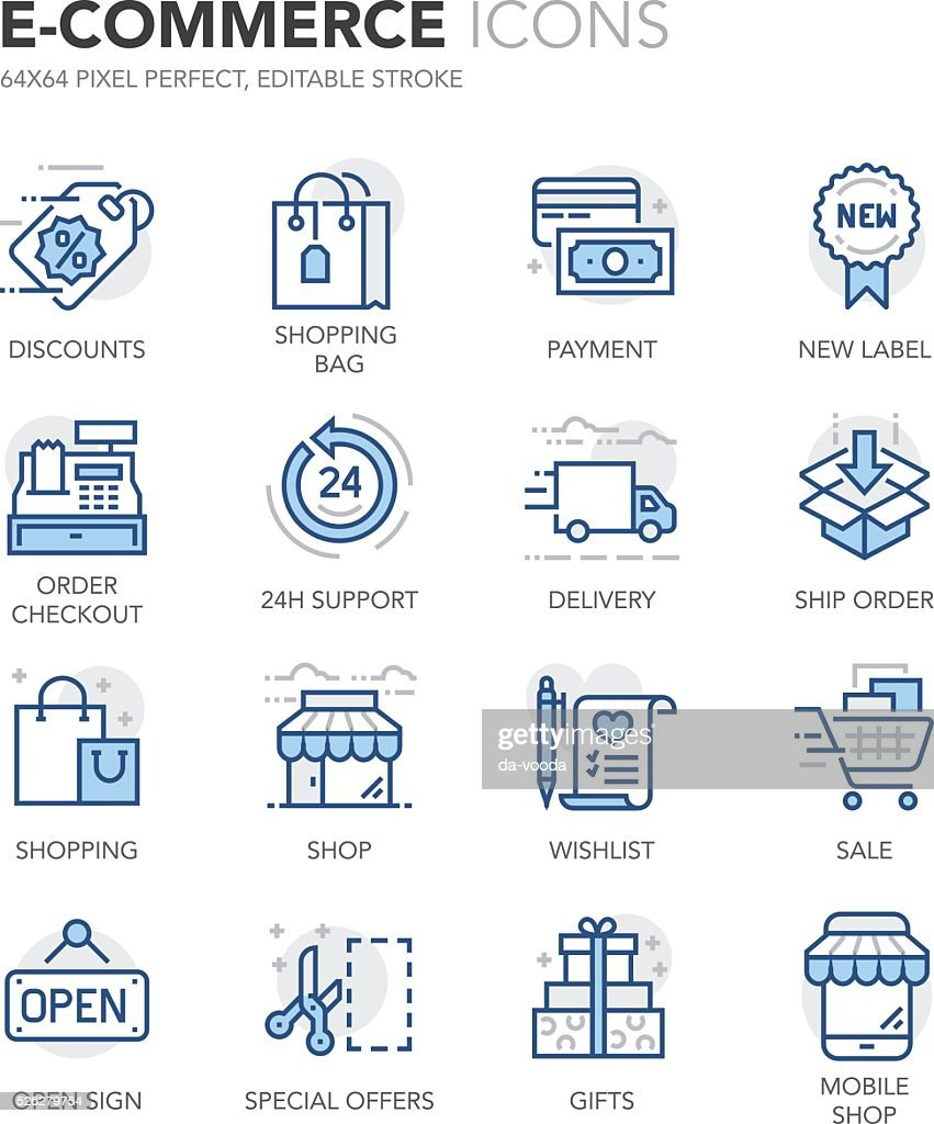 Blue Line E-Commerce Icons