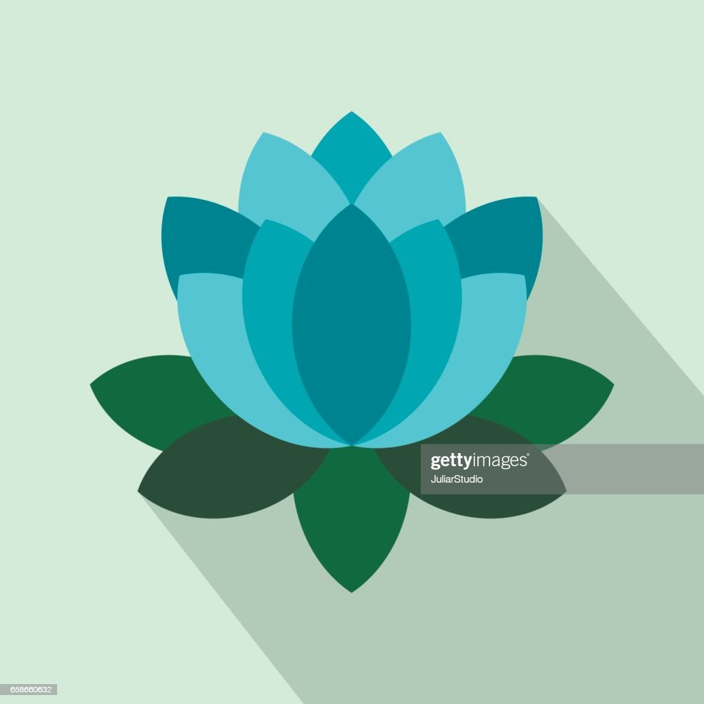 Blue Lotus Flower Icon Flat Style Vector Art Getty Images