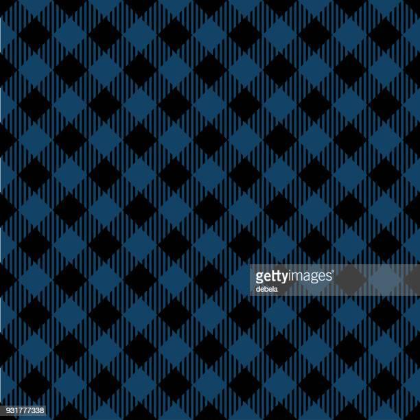 blue lumberjack argyle pattern - tartan stock illustrations