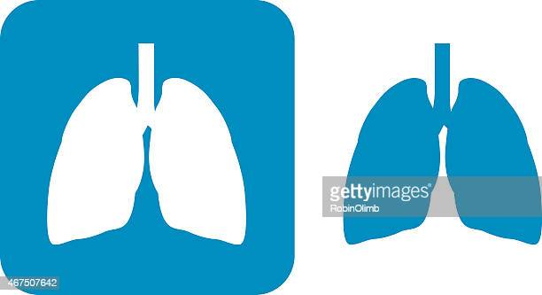 blue lungs  icons - respiratory system stock illustrations, clip art, cartoons, & icons