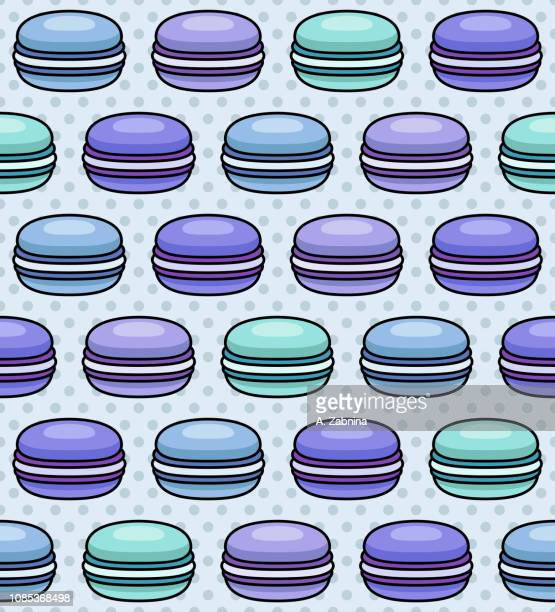 blue macaron seamless pattern - macaroon stock illustrations, clip art, cartoons, & icons
