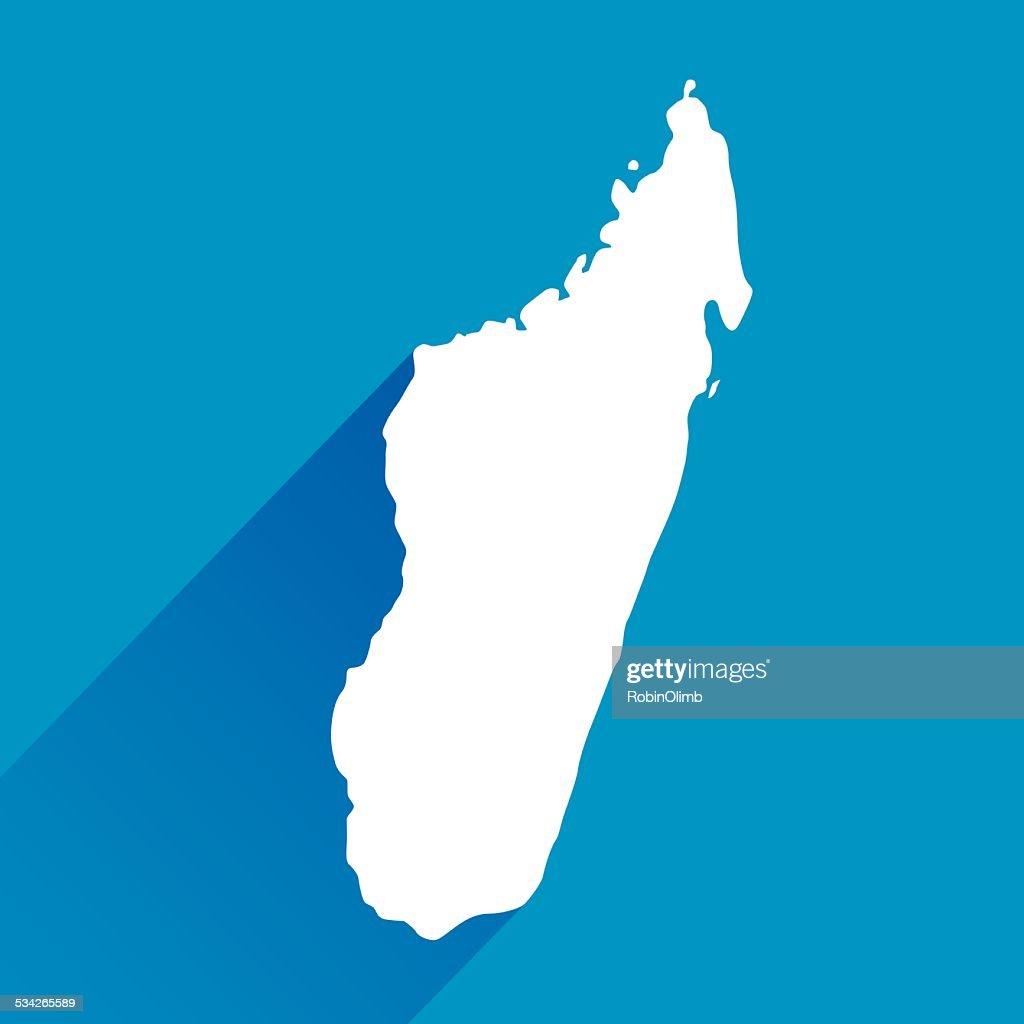 Blue Madagascar Map icon : Stock Illustration