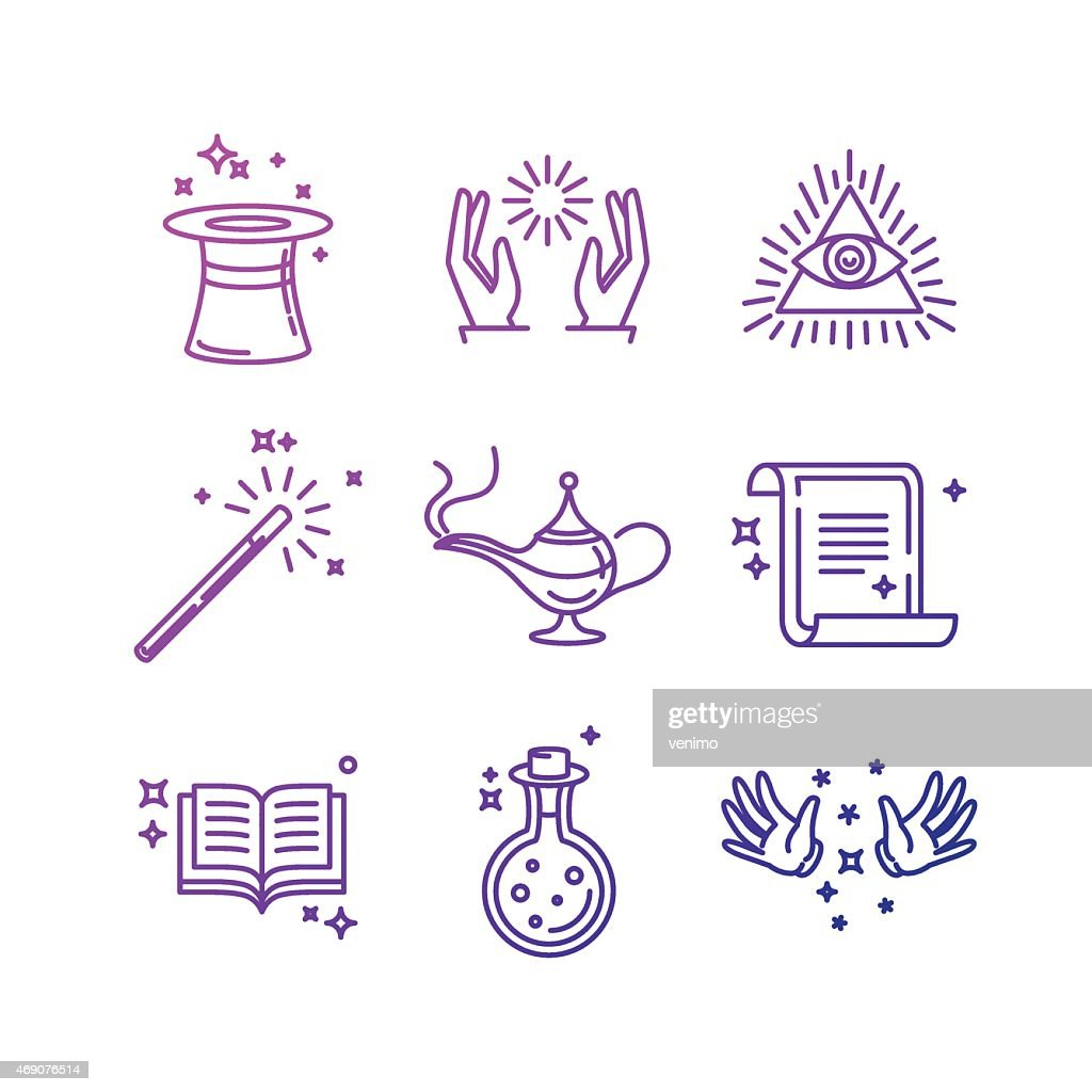 Blue magic icons with white background