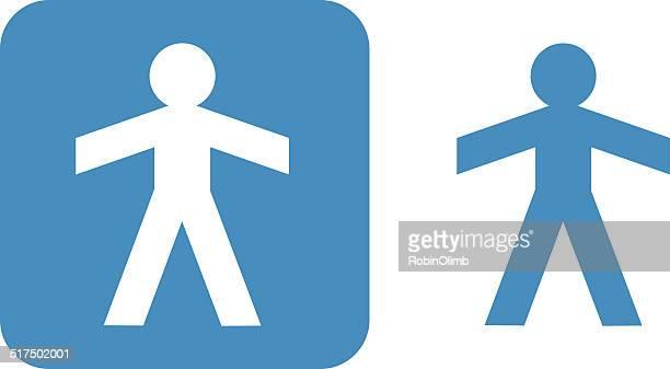 雄紙ディルのアイコンブルー - 紙人形点のイラスト素材/クリップアート素材/マンガ素材/アイコン素材