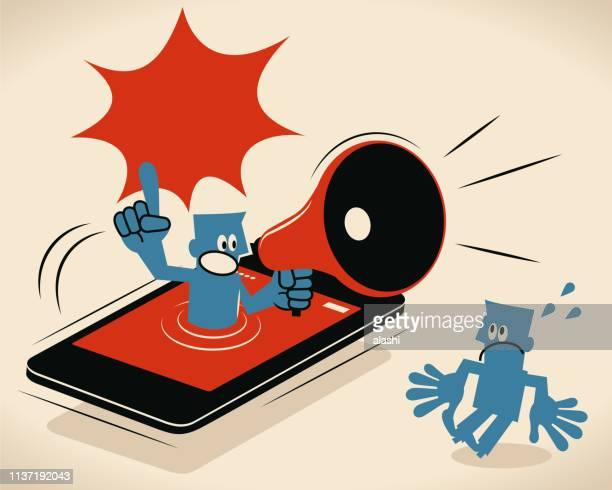 ilustrações de stock, clip art, desenhos animados e ícones de blue man from smart phone shouting with megaphone to an audience - proibido celular