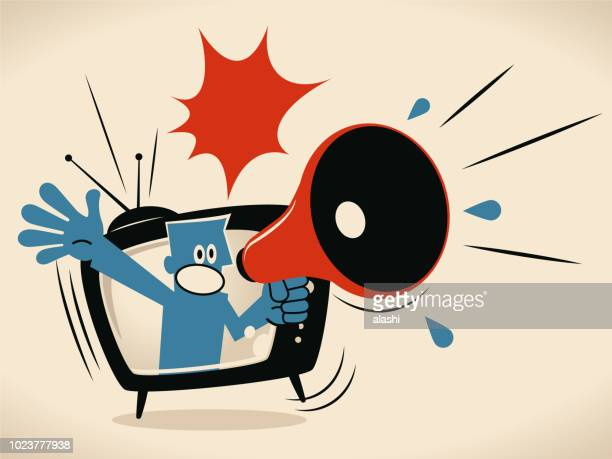 blue man from tv screen shouting with megaphone - announcement message stock illustrations