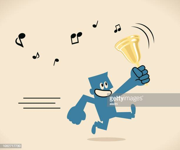 Blue man holding gold bell and running