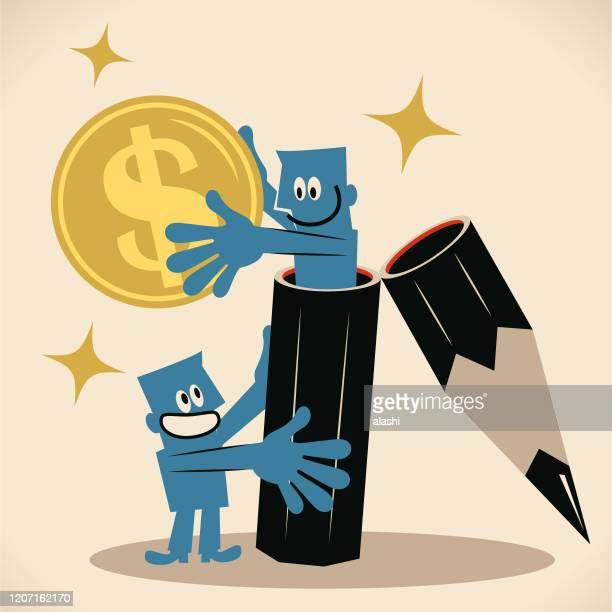 ilustrações de stock, clip art, desenhos animados e ícones de blue man (editor, writer) holds a big pencil that another man comes out of it and giving him money, concept of royalty, writing articles for magazines, journals or content-hungry businesses - nicho