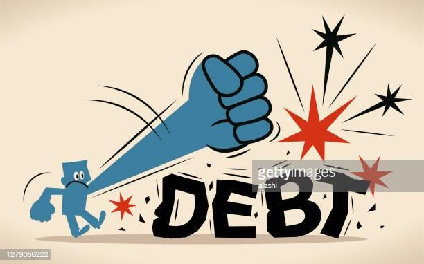illustrazioni stock, clip art, cartoni animati e icone di tendenza di l'uomo blu sta cercando di schiacciare e distruggere il pesante fardello del debito; rompere il ciclo del debito - schiacciato