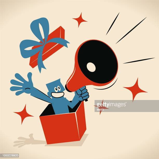 blue man popping out suddenly from a gift box and speaking through a megaphone - funny birthday stock illustrations