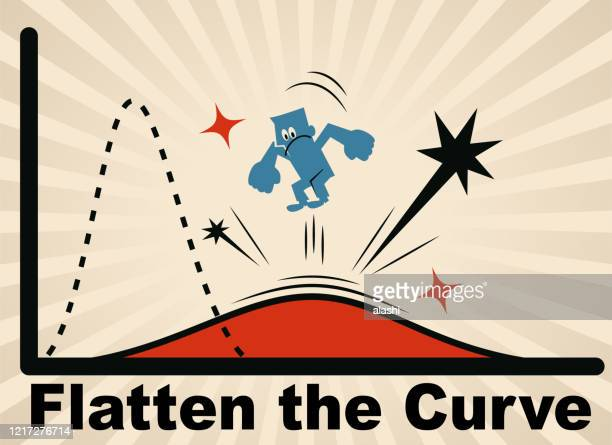 ilustrações de stock, clip art, desenhos animados e ícones de blue man try hard to jump in place to flatten the curve and lower the rate of infection and stop the spreading of new coronavirus (covid-19) - aplanar a curva