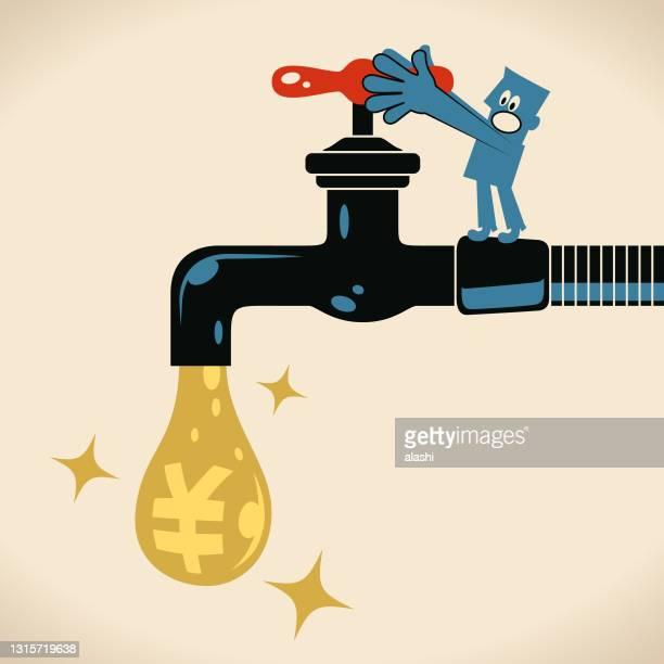 水漏れを解決するために蛇口(蛇口)をオンまたはオフにする青い男(元または円記号の水滴、中国、台湾または日本の通貨) - 水の無駄遣い点のイラスト素材/クリップアート素材/マンガ素材/アイコン素材