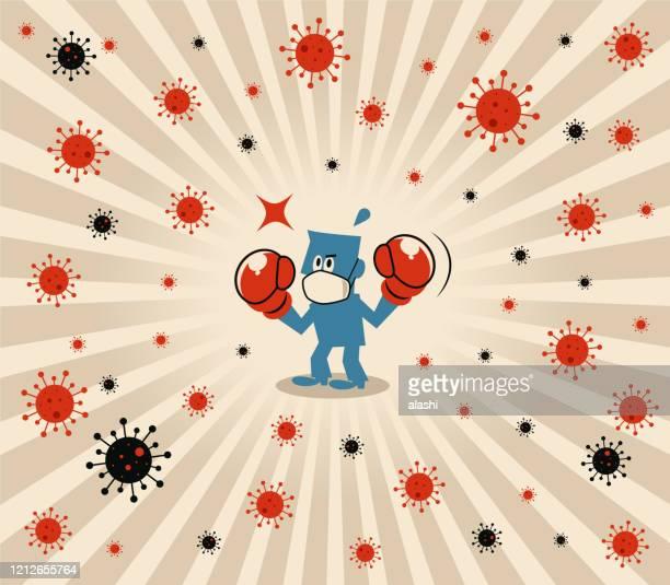 ilustrações, clipart, desenhos animados e ícones de homem azul usa máscara facial médica e luvas de boxe para lutar contra o novo coronavírus (gripe, bactéria, vírus, poluição do ar) - immune system