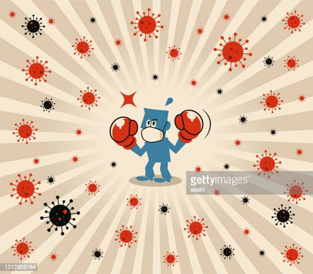 blue man wears medical face mask and boxing gloves to fight against novel coronavirus (flu, bacterium, virus, air pollution) - immune system stock illustrations