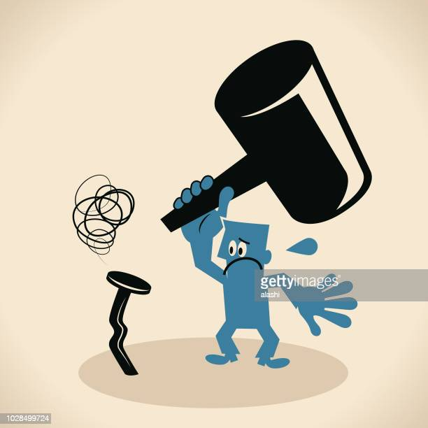 blue man with a hammer and a bent nail - hammer stock illustrations