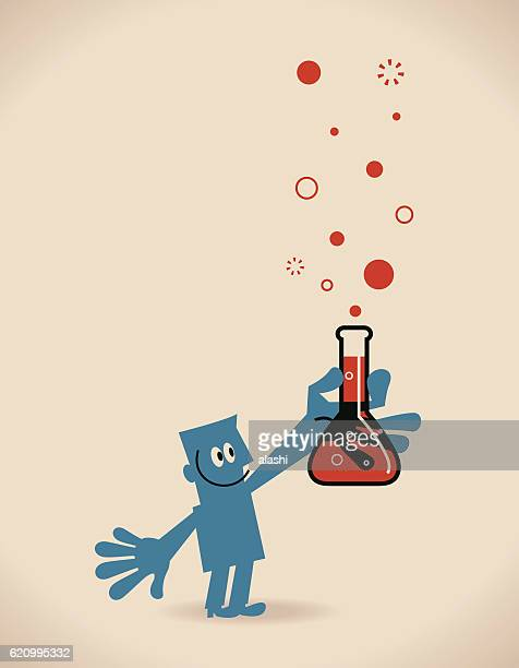 Blue man (Scientist) with Chemistry Measuring Cup