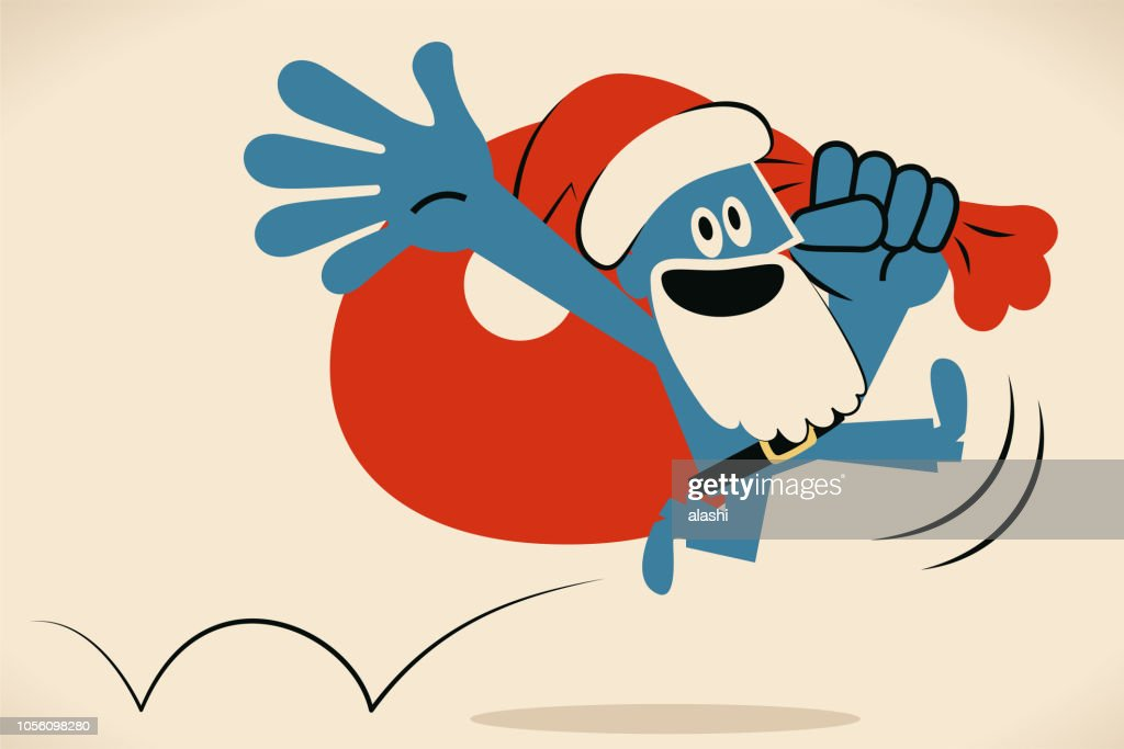 Blue man with santa hat and beard and sack bag jumping and running happily : stock illustration