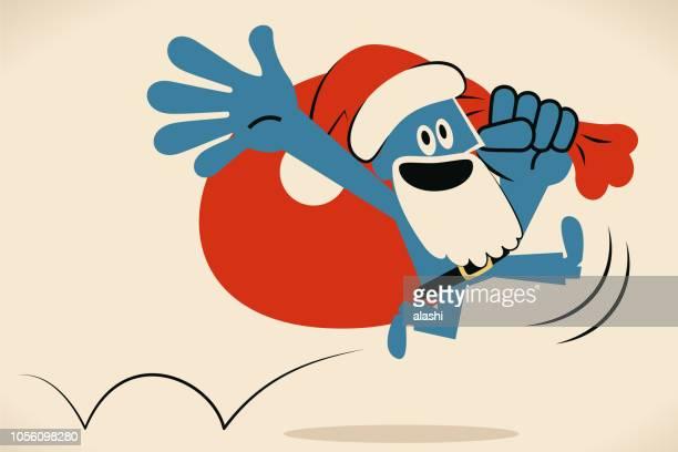 Blue man with santa hat and beard and sack bag jumping and running happily