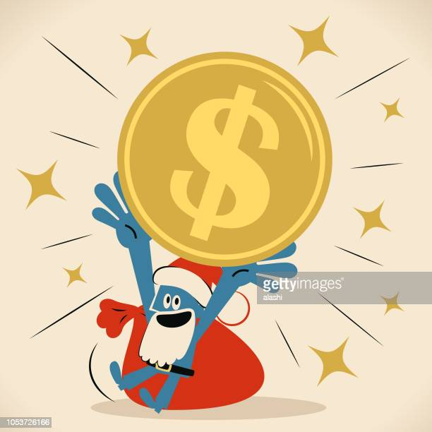 blue man with santa hat and beard carrying a huge dollar currency on head - christmas cash stock illustrations