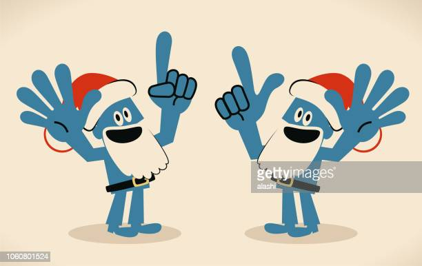 Blue man with santa hat and beard gesturing number 6 and number 7 hand sign