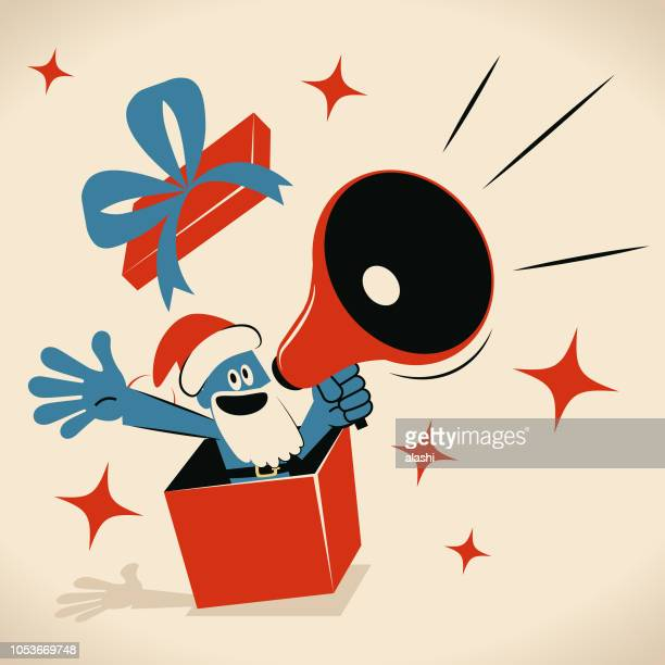 Blue man with santa hat and beard popping out from a gift box and speaking through a megaphone