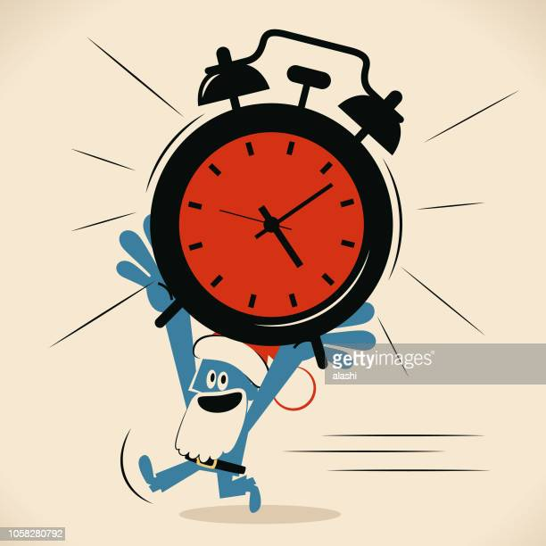 Blue man with santa hat and beard running and carrying a huge alarm clock on head