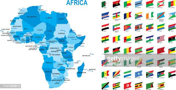 blue map of africa with flag against white background - cameroon stock illustrations, clip art, cartoons, & icons