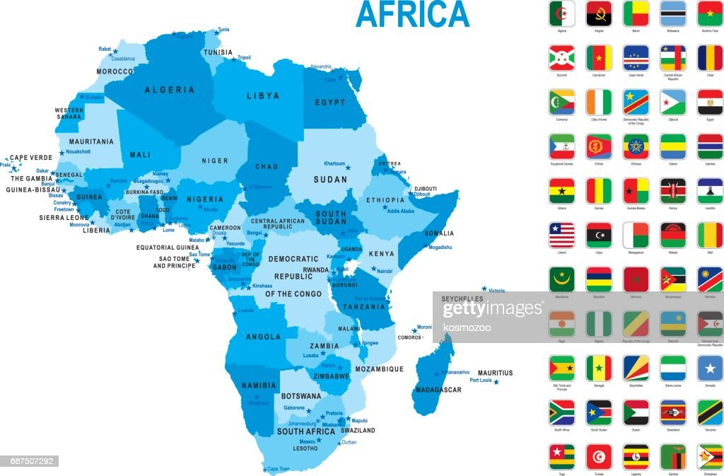 Blue map of Africa with flag against white background