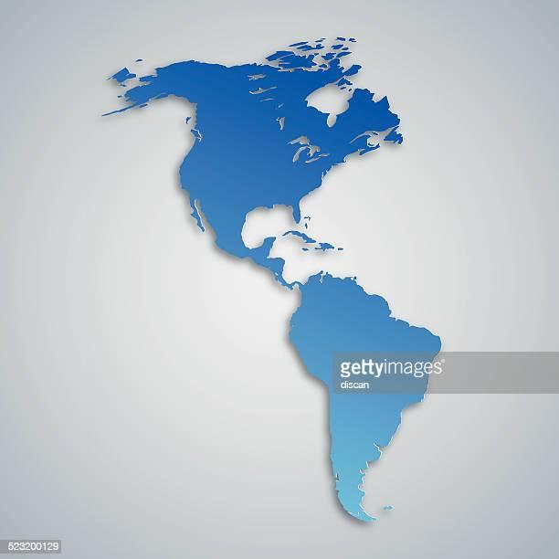 ilustraciones, imágenes clip art, dibujos animados e iconos de stock de blue map de las américas, con efecto de papel - islas malvinas