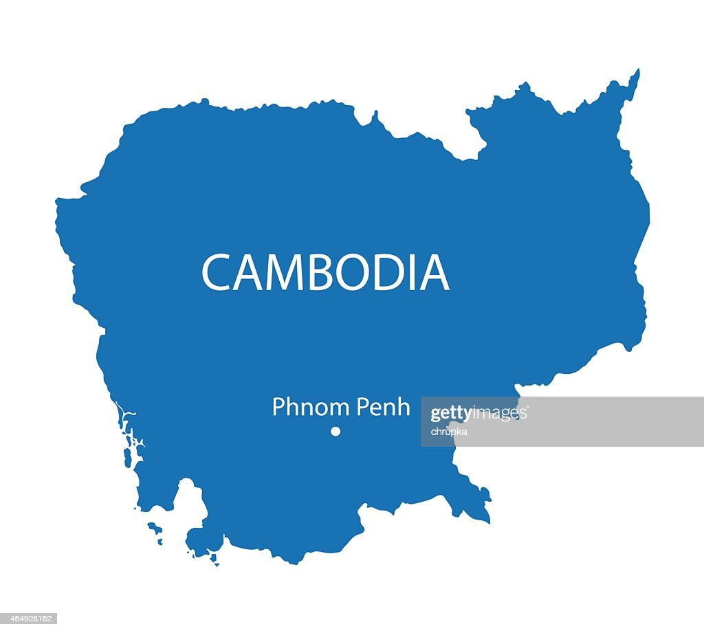 blue map of Cambodia