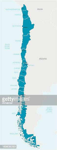 Blue map of Chile with names of different areas
