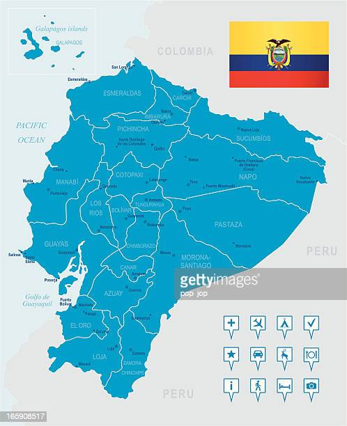 A blue map of Ecuador with a flag in the corner