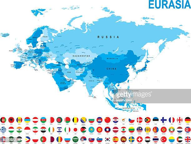 Blue map of Eurasia with flag against white background