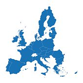 blue map of European Union