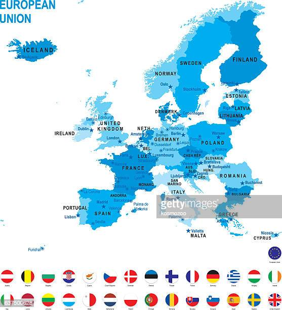 blue map of european union with flag against white background - slowakei stock-grafiken, -clipart, -cartoons und -symbole