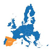 blue map of European Union with indication of Spain
