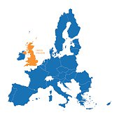 blue map of European Union with indication of United Kingdom