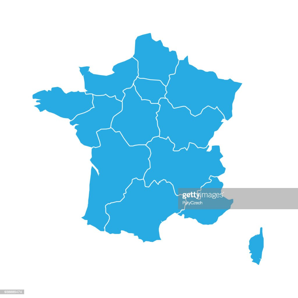 Blue map of France divided into 13 administrative metropolitan regions, since 2016. Vector illustration