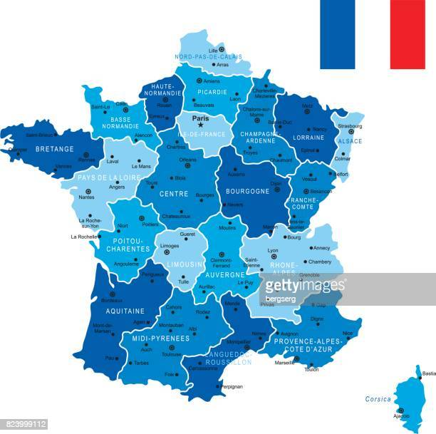 blue map of france - corsica stock illustrations, clip art, cartoons, & icons